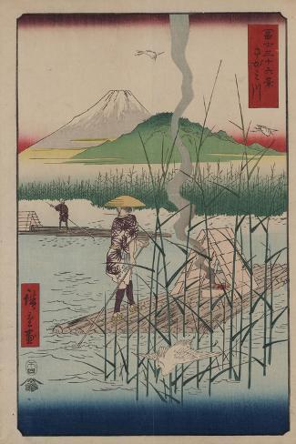 Sagami River-Ando Hiroshige-Stretched Canvas Print