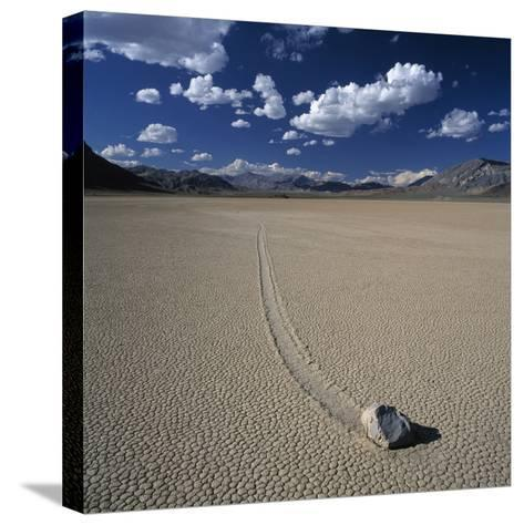 Rock Pushed by Wind in Desert-Micha Pawlitzki-Stretched Canvas Print