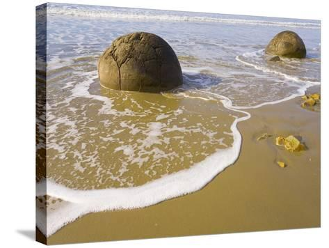 Large Moeraki Boulders on Koekoche Beach-John Eastcott & Yva Momatiuk-Stretched Canvas Print