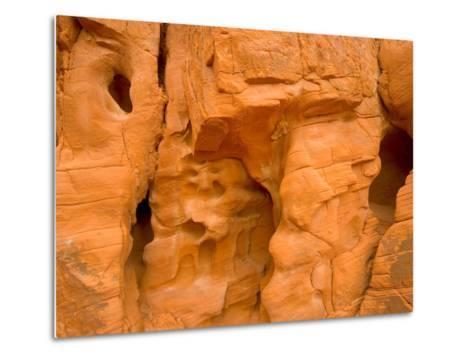 Eroded Sandstone Cliff With Holes-John Eastcott & Yva Momatiuk-Metal Print