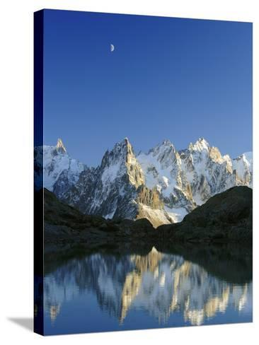 Aiguilles de Chamonix and and Mont Blanc reflected in Lac Blanc at sunset-Frank Lukasseck-Stretched Canvas Print