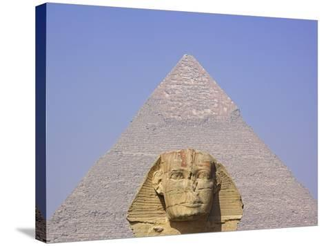 Sphinx and Great Pyramid-Frank Lukasseck-Stretched Canvas Print