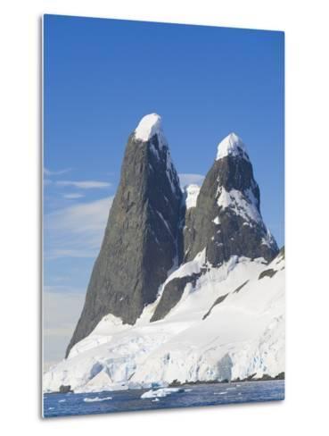 Snowcapped Pinnacles Rising from Coast-John Eastcott & Yva Momatiuk-Metal Print