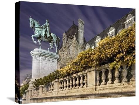 Equestrian Statue Outside Hotel de Ville-Peet Simard-Stretched Canvas Print