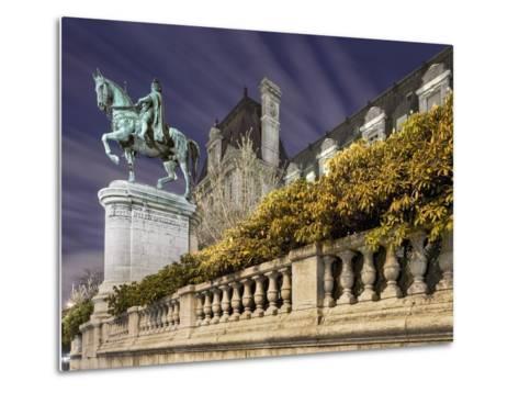 Equestrian Statue Outside Hotel de Ville-Peet Simard-Metal Print
