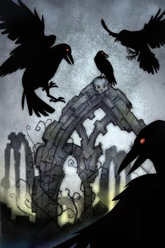 Crows-Harry Briggs-Stretched Canvas Print
