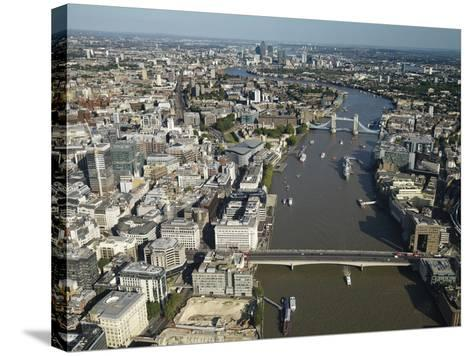 Thames River and London-Jason Hawkes-Stretched Canvas Print