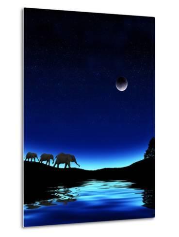 Three Elephants Walking Past Water-Mike Agliolo-Metal Print