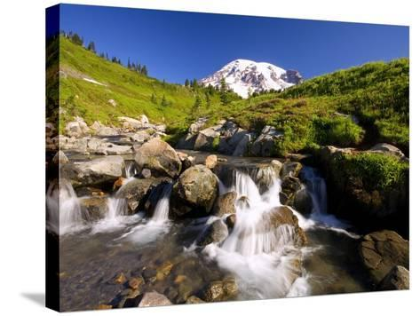 Waterfall and Mt. Rainier-Craig Tuttle-Stretched Canvas Print