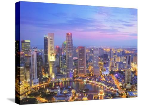 Singapore Skyline at Dusk-Paul Hardy-Stretched Canvas Print