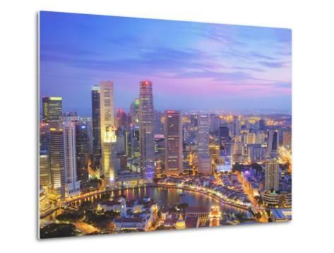 Singapore Skyline at Dusk-Paul Hardy-Metal Print