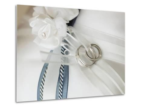 Wedding rings tied to pillow-Marnie Burkhart-Metal Print