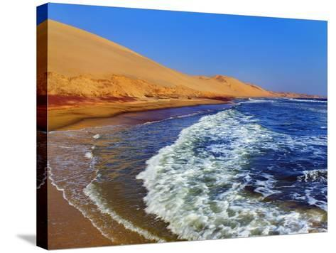 Waves Rolling into Shore in Sandwich Harbor-Frank Krahmer-Stretched Canvas Print