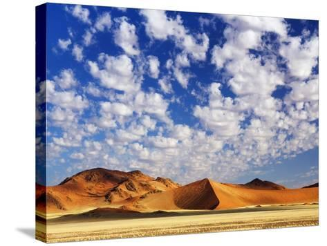 Dunes in Namib Desert Under White Clouds-Frank Krahmer-Stretched Canvas Print