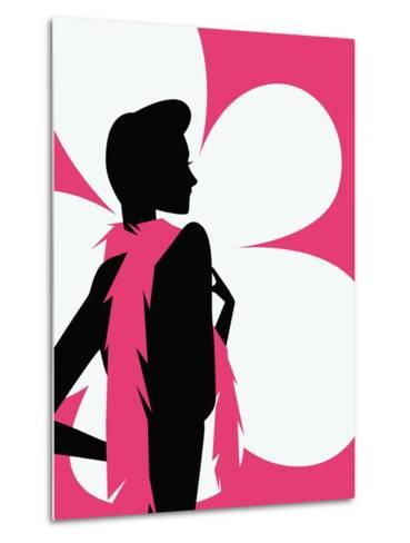 Woman with a pink scarf--Metal Print