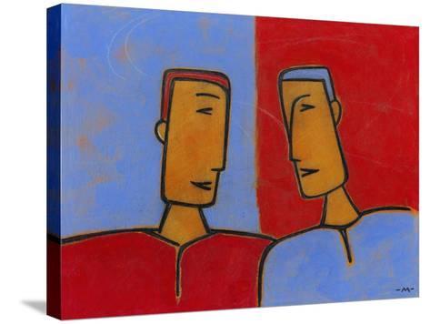Men Conversing-Marie Bertrand-Stretched Canvas Print