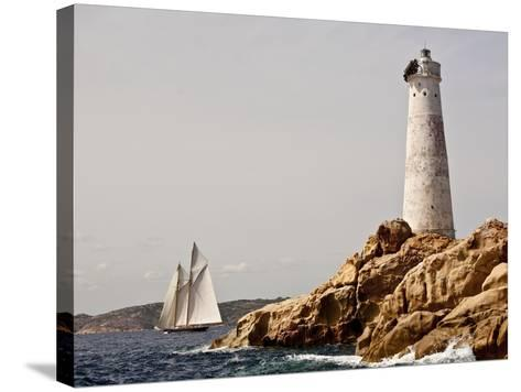Shenandoah of Sark Schooner Sails Past Sardinia's Monaci Lighthouse on Costa Smeralda-Onne van der Wal-Stretched Canvas Print