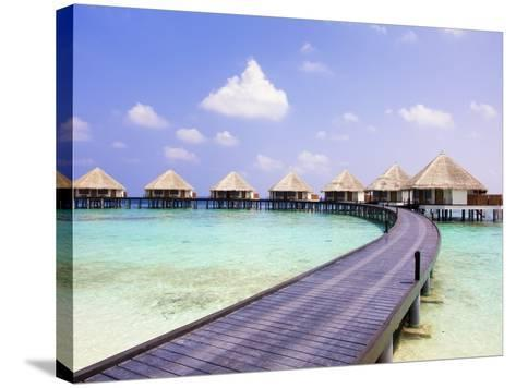 Water bungalows and jetty-Frank Lukasseck-Stretched Canvas Print