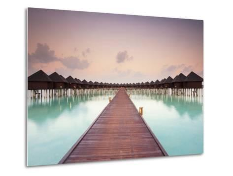 Boardwalk and Water Bungalows after Sunset-Frank Lukasseck-Metal Print