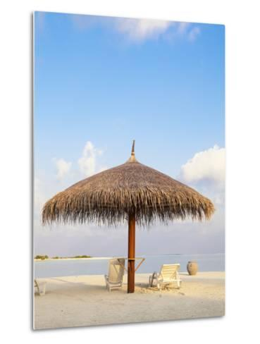 Beach chairs and umbrella at the beach-Frank Lukasseck-Metal Print