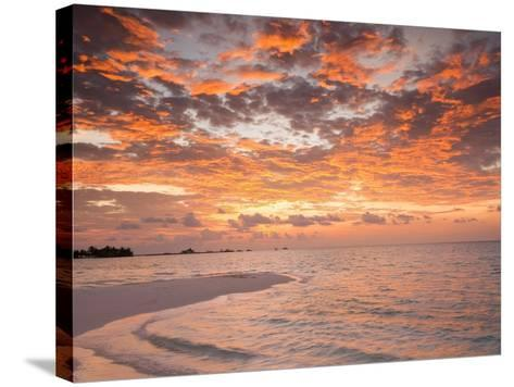 Sunrise over the Maldive Islands-Frank Lukasseck-Stretched Canvas Print