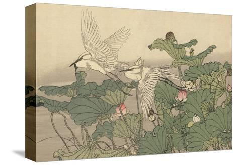 Egrets and Lotus-Imao Keinen-Stretched Canvas Print