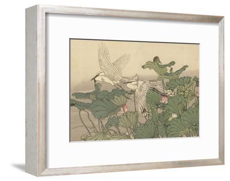 Egrets and Lotus-Imao Keinen-Framed Art Print