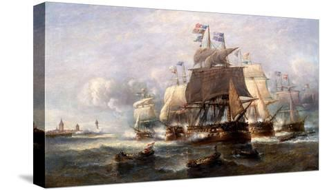 A Naval Engagement-Francois Musin-Stretched Canvas Print
