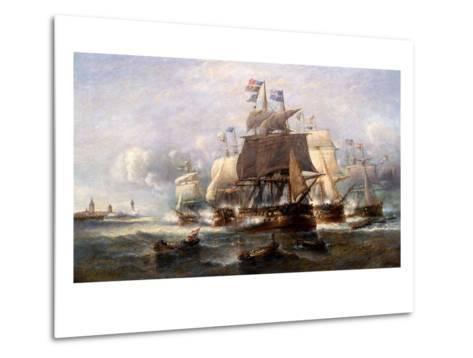 A Naval Engagement-Francois Musin-Metal Print