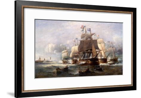 A Naval Engagement-Francois Musin-Framed Art Print