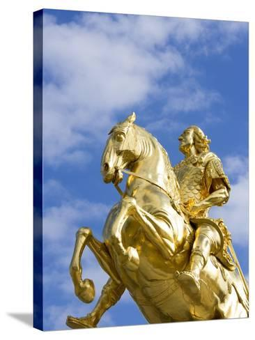 Golden Rider Equestrian Statue in Dresden-Paul Seheult-Stretched Canvas Print