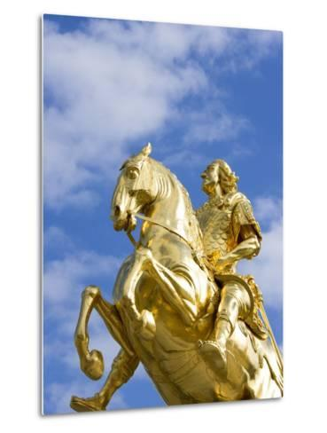 Golden Rider Equestrian Statue in Dresden-Paul Seheult-Metal Print