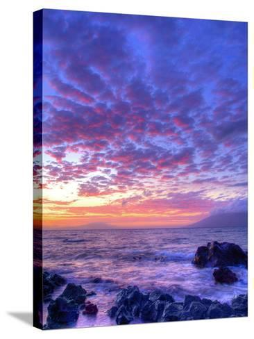 Sunset over beach at Wailea on Maui-Ron Dahlquist-Stretched Canvas Print