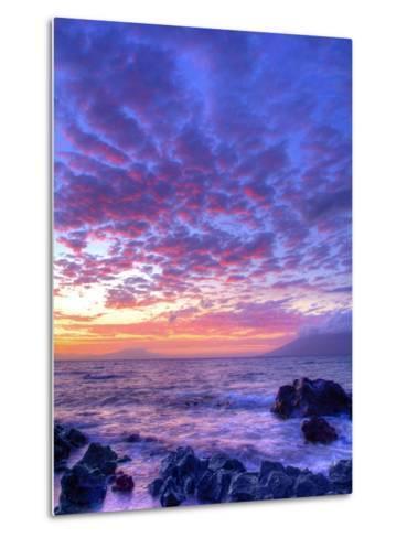 Sunset over beach at Wailea on Maui-Ron Dahlquist-Metal Print