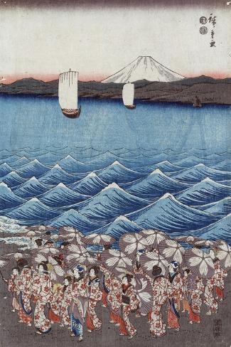 Opening Celebration of Benzaiten Shrine at Enoshima-Ando Hiroshige-Stretched Canvas Print