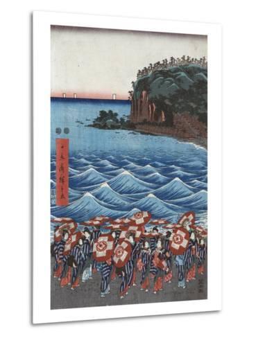 Opening Celebration of Benzaiten Shrine at Enoshima-Ando Hiroshige-Metal Print