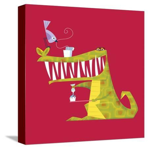 Crocodile brushing his teeth-Harry Briggs-Stretched Canvas Print
