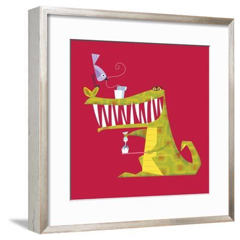 Crocodile brushing his teeth-Harry Briggs-Framed Art Print