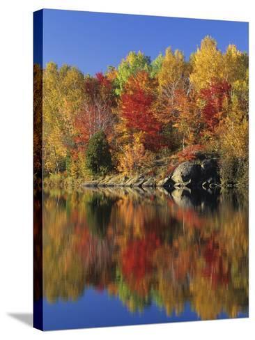 Simon Lake Reflection, Naughton, Ontario, Canada-Mike Grandmaison-Stretched Canvas Print