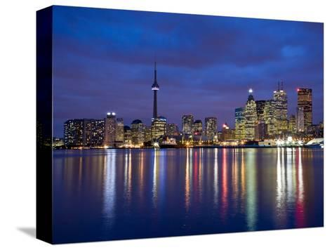 View of Toronto Skyline at Night from 'The Docks', Toronto, Ontario, Canada.-Henry Georgi-Stretched Canvas Print