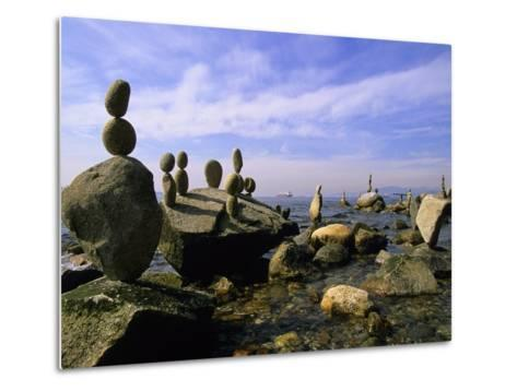 Balanced Rocks Along Seawall, Stanley Park, Vancouver, British Columbia, Canada.-Ron Watts-Metal Print