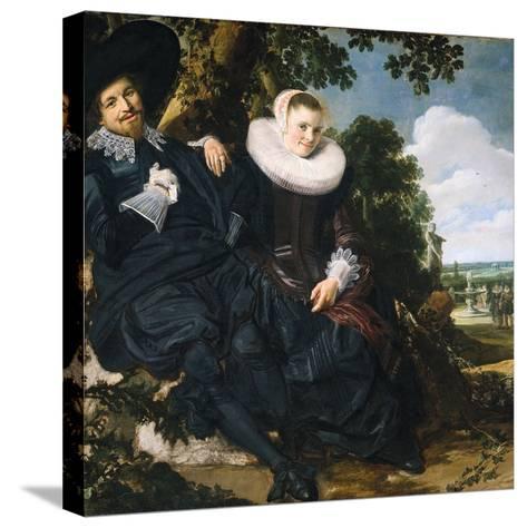 Marriage Portrait of Isaac Massa and Beatrix van der Laen-Frans Hals the Elder-Stretched Canvas Print