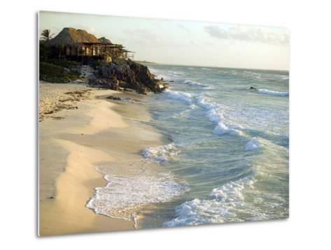 Resort Hut on the Coastline, Overlooking the Beach, Mexico-Roderick Chen-Metal Print