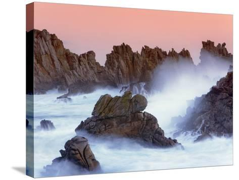 Sea stacks and spume at the Pointe de Creac'h-Frank Krahmer-Stretched Canvas Print