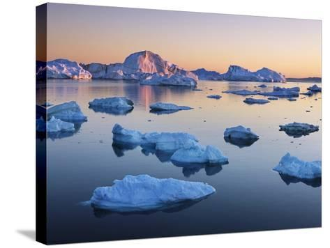 Icebergs in Disko Bay-Frank Krahmer-Stretched Canvas Print