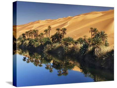 Dune rising from Um el Ma Lake-Frank Krahmer-Stretched Canvas Print