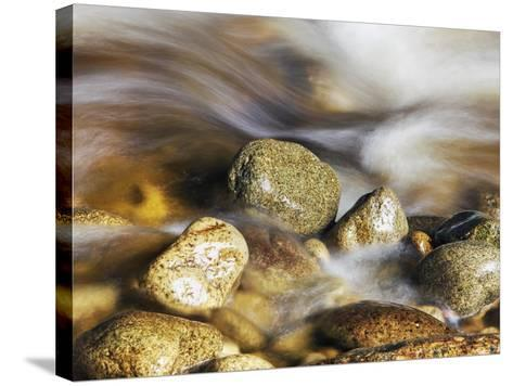 Water rushing past river stones-Frank Krahmer-Stretched Canvas Print