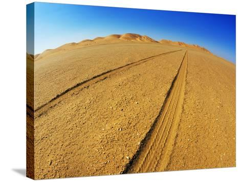 Tire tracks in the sand-Frank Krahmer-Stretched Canvas Print