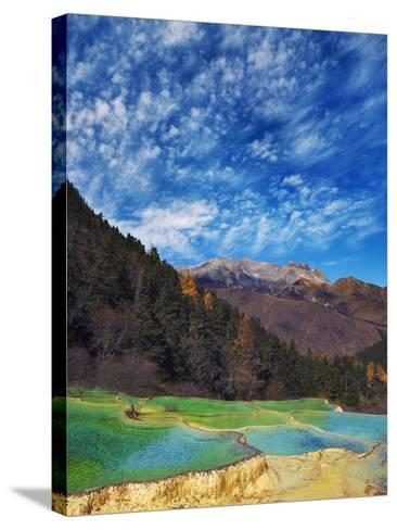 Limestone terraces in Huanglong Scenic Area in China-Frank Krahmer-Stretched Canvas Print