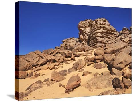 Eroded landscape in Tassili du Hoggar-Frank Krahmer-Stretched Canvas Print